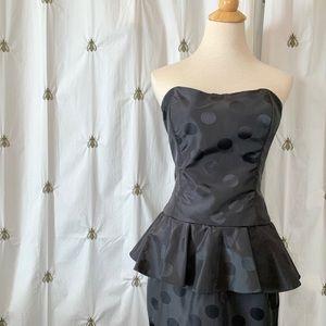 Vintage Black Polka Dot Formal Wiggle Peplum Dress